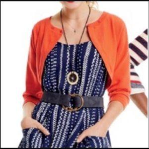 Cabi Orange Cropped 3/4 Sleeve Sweater Cardigan M